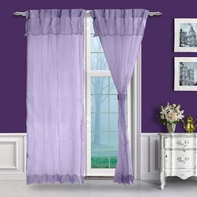 Just Linen Polyester Pink Solid Tab Top Door Curtain
