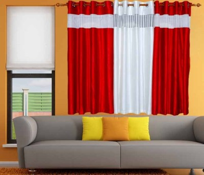 Store17 Polyester Red Plain Ring Rod Window Curtain
