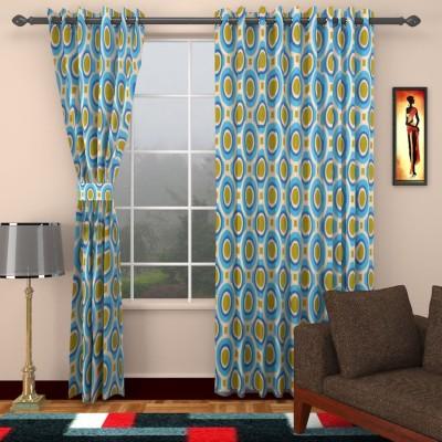 SEVEN STARS Cotton Blue Abstract Eyelet Window Curtain