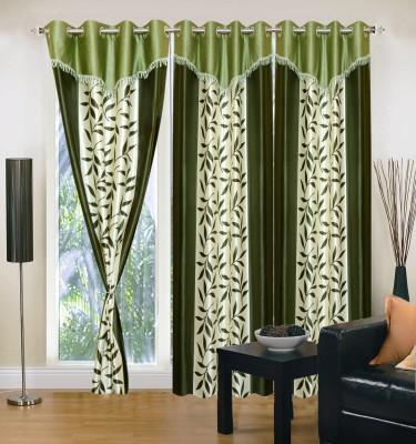 Homesazz Polyester Green Self Design Eyelet Door Curtain