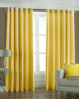 BTI Polyester Yellow Plain Eyelet Door Curtain