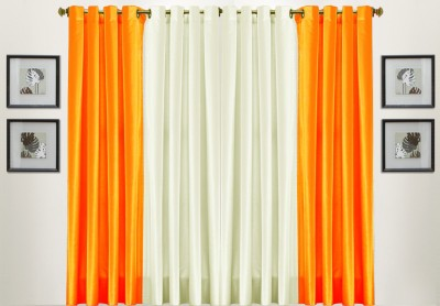 Pendu Art Polyester Orange Plain Eyelet Window & Door Curtain