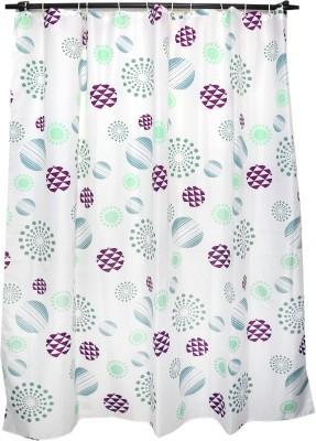 Skap Polyester White Abstract Eyelet Shower Curtain