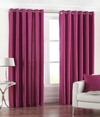 Shiviham Life Style Polyester Wine Solid Eyelet Window & Door Curtain