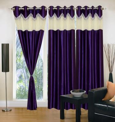 Homesazz Polyester Dark Blue Self Design Eyelet Window Curtain
