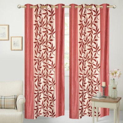 Yellow Weaves Polyester Red Floral Eyelet Door Curtain