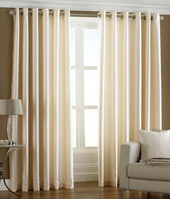 Mirchifry Polyester Cream Solid Concealed Tab Top Door Curtain