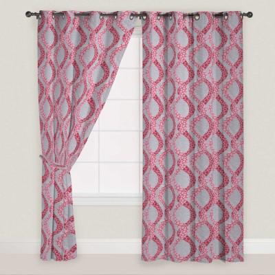 Presto Polyester Maroon Self Design Eyelet Long Door Curtain