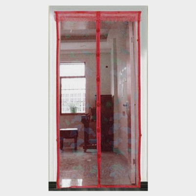 Muren Polyester Maroon Printed Tab Top Door Curtain