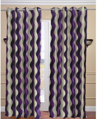 Decorlife Polyester Purple Printed Eyelet Door Curtain