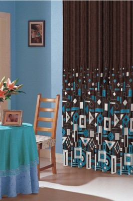 Dreamscape Polyester Blue Printed Eyelet Door Curtain