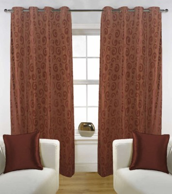 Grabodeal Polyester Coffee Floral Eyelet Window Curtain