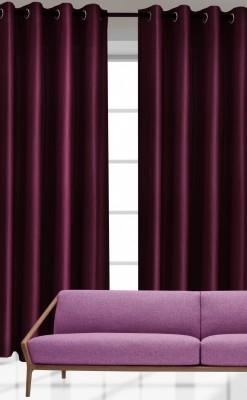 India Furnish Polyester Purple Plain Eyelet Door Curtain