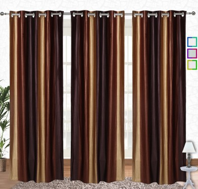 Comfort Zone Polyester Crush Brown And Golden Solid Eyelet Long Door Curtain