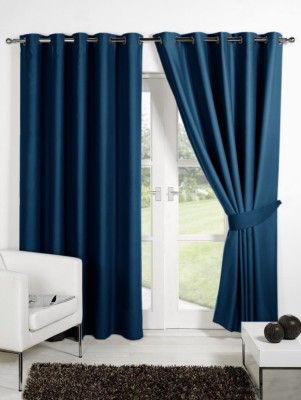 Homec Polyester Ashblue Solid Eyelet Long Door Curtain