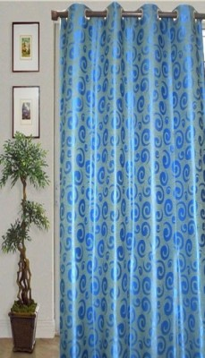JBG Home Store Polyester Blue Abstract Eyelet Door Curtain