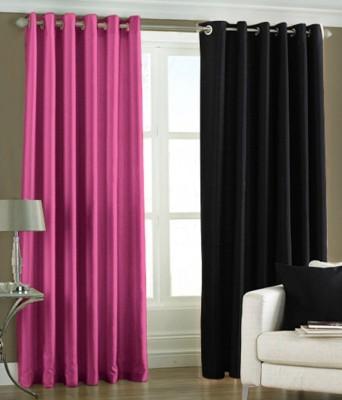 The Decor Hub Polyester Pink, Black Plain Eyelet Window Curtain