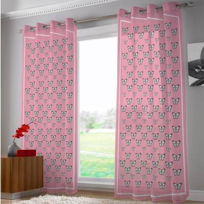 Right Polyester Pink Cartoon Eyelet Door Curtain