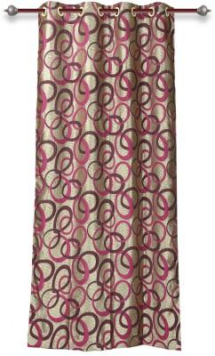 Mahamantra Polyester Pink Floral Eyelet Door Curtain