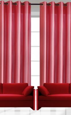 India Furnish Polyester Dark Pink Plain Eyelet Door Curtain