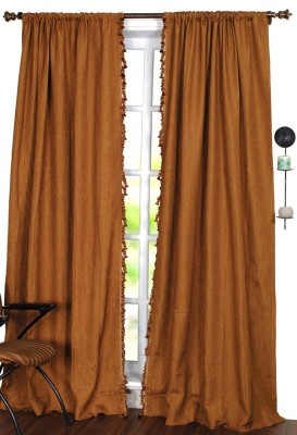 Deco Window Polyester Gold Solid Eyelet Window Curtain