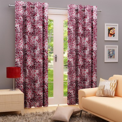 Angrezi Home Polyester Purple/White Geometric Eyelet Long Door Curtain