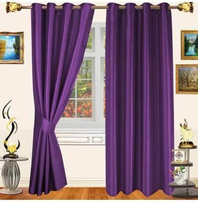 Sanaya Polyester Purple Solid Eyelet Door Curtain