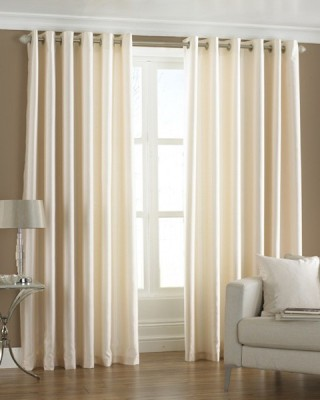 Homefab India Polyester White Solid Eyelet Long Door Curtain