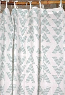 Ocean Homestore Cotton White Geometric Curtain Door Curtain