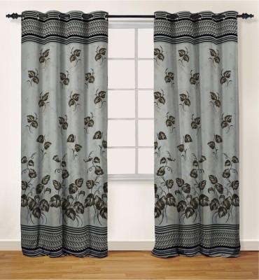 Oro Decor Polyester Coffee Bean Floral Eyelet Door Curtain