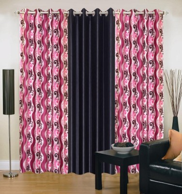 Brand Decor Polyester Black, Pink Floral Eyelet Door Curtain