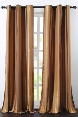 Deco Essential Polyester Gold Brown Mix Plain Eyelet Window Curtain
