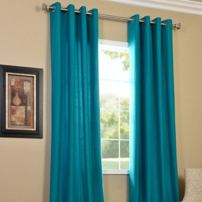 Paisa Worth Polyester Sky Blue Solid Eyelet Door Curtain