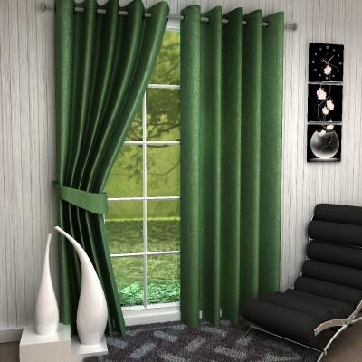 Fashion Weaving Polyester Green Plain Eyelet Long Door Curtain