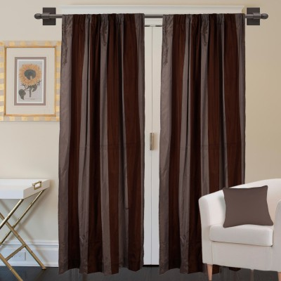 Marmitte Polyester Brown Striped Rod pocket Door Curtain