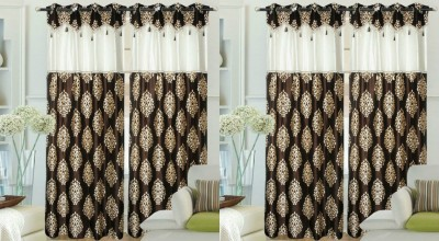 Hargunz Polyester White, Brown Abstract Eyelet Long Door Curtain