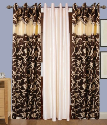 Jai Ganga Polyester Beige And Brown Printed Curtain Door Curtain