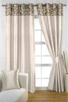 HOMEC Satin Ivory Paisley Eyelet Window & Door Curtain(210 cm in Height, Pack of 2)