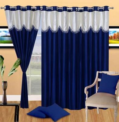 Handloom Hut Polyester Blue Solid Eyelet Long Door Curtain