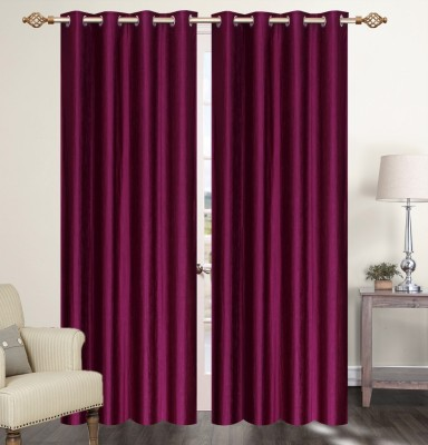 Furnishing Zone Polyester Purple Plain Eyelet Long Door Curtain