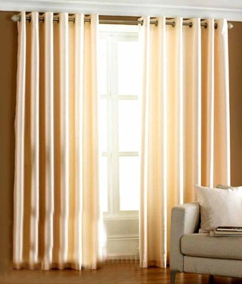 White Wave Polyester Beige Solid Tab Top Door Curtain