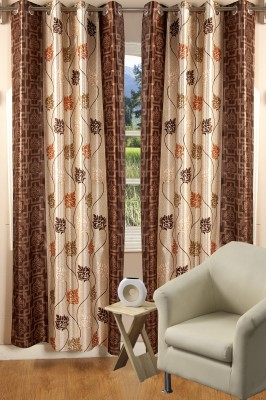 Nine Living Polyester Brown Printed Eyelet Window Curtain