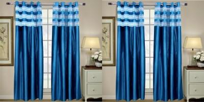 Rangoli Polyester Blue Self Design Eyelet Door Curtain
