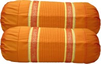 Home Shine Striped Bolsters Cover(Pack of 2, 80 cm*80 cm, Orange)