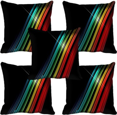 meSleep Abstract Cushions Cover(Pack of 5, 40.64 cm*40.64 cm, Black)