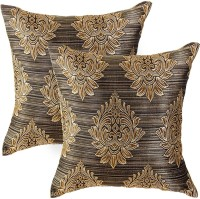Zaffre's Damask Cushions & Pillows Cover(Pack of 4, 30 cm*30 cm, Brown)