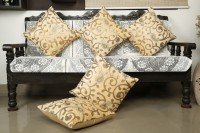 Dekor World Embroidered Cushions Cover(Pack of 5, 40 cm*40 cm, Beige)