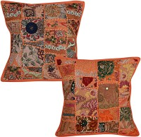 Lal Haveli Abstract Cushions Cover(Pack of 2, 41 cm*41 cm, Orange)