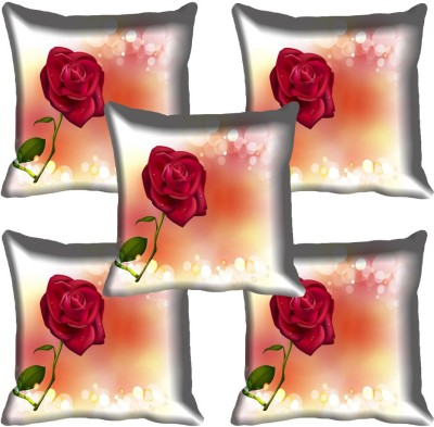 meSleep Floral Cushions Cover(Pack of 5, 40.64 cm*40.64 cm, Multicolor)