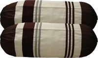 Home Shine Striped Bolsters Cover(Pack of 2, 80 cm*80 cm, Brown)